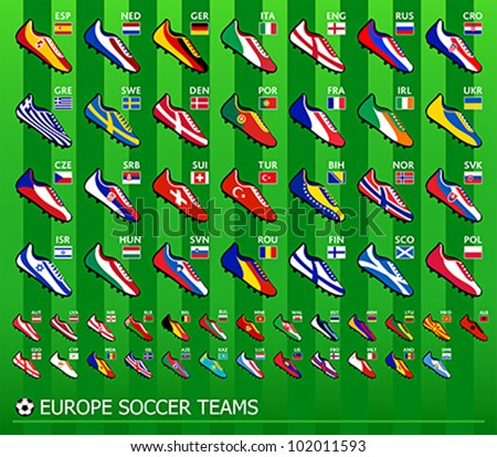 Soccer shoes in national flag colors for all European team - stock vector