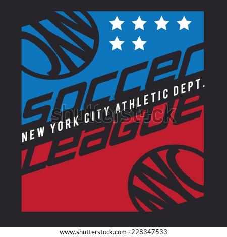 Soccer sport typography, t-shirt graphics, vectors - stock vector