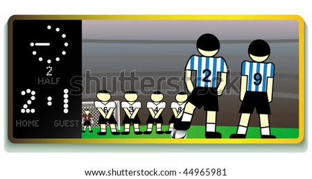 Soccer  stadium board with info and match translation. Vector illustration. - stock vector