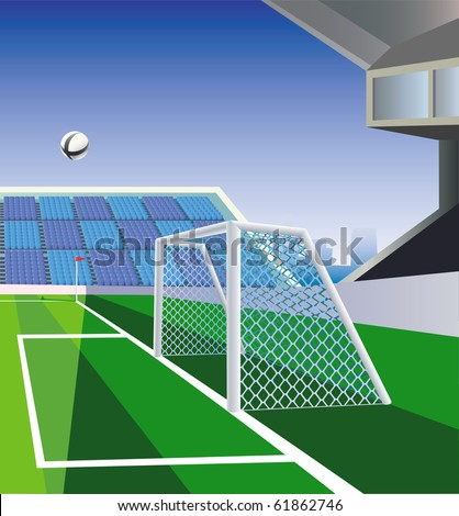 Soccer  stadium part with detailed goal and field. Vector illustration. - stock vector