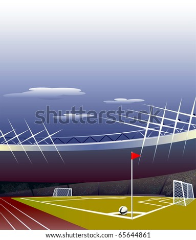 Soccer stadium with detailed tribunes, field and goals. - stock vector
