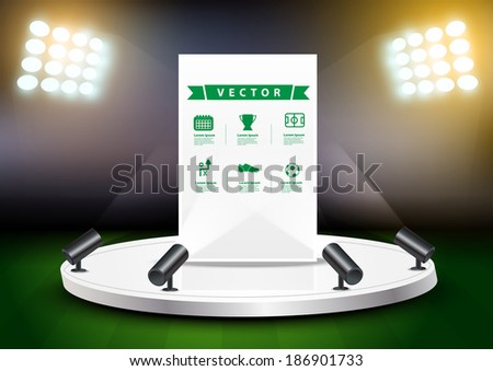 Soccer stadium with stage exhibition stand, Vector illustration modern design template - stock vector