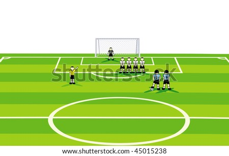 Soccer  standard situation with penalty and one team makes a wall. vector illustration. - stock vector