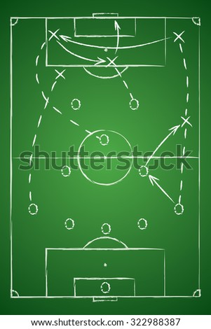 Soccer Tactic Table. Vector Illustration. The Tactical Scheme Of Five Three Two - stock vector
