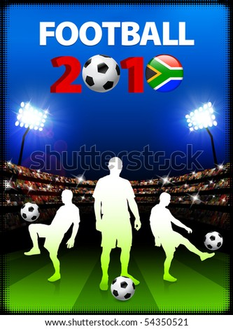 Soccer Team with South African 2010 Event Original Illustration - stock vector
