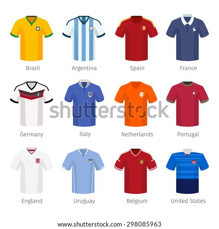Soccer uniform or football of national teams. argentina brazil spain france germany italy netherlands portugal england. Vector illustration - stock vector