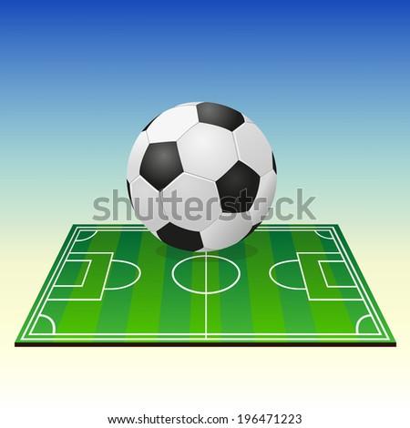 Soccerball on a football field - stock vector