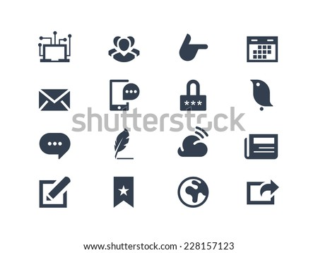 Social and communication icons - stock vector
