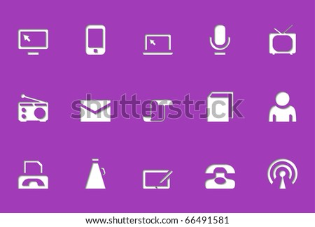 Social and communication icons | Die Cut series. The icons look like are pressed into. Works well for any background. - stock vector