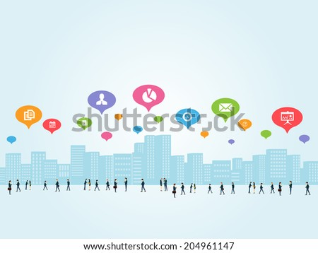 Social business communications - stock vector