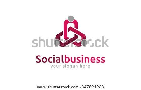 Social Business Logo - stock vector