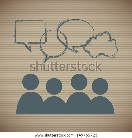 social clouds  over lineal background vector illustration  - stock vector