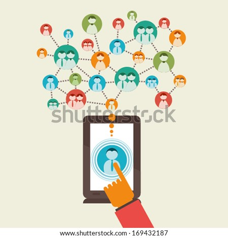 social communication or relation only with one click through tablet concept vector - stock vector