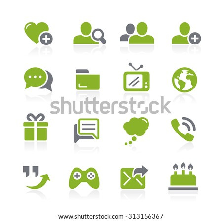 Social Communications Icons // Natura Series - stock vector