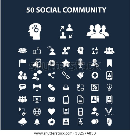 social community illustrations, icons, signs, concept vector set for web, infographics - stock vector