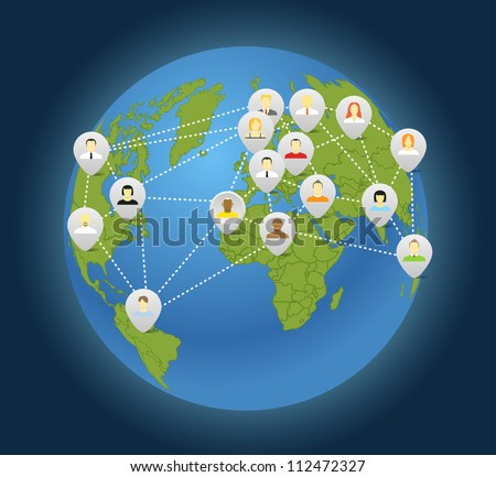Social connection abstract scheme on globe - stock vector