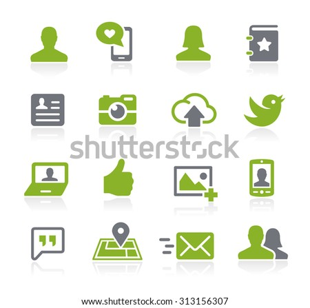 Social Icons // Natura Series - stock vector