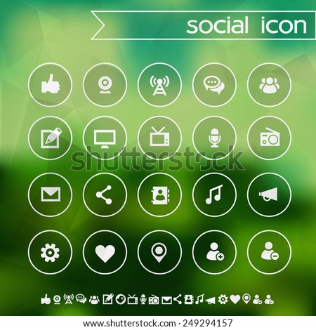 Social icons on blurred background - stock vector