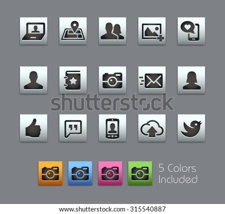 Social Icons The vector file includes 5 color versions for each icon in different layers ---- - stock vector