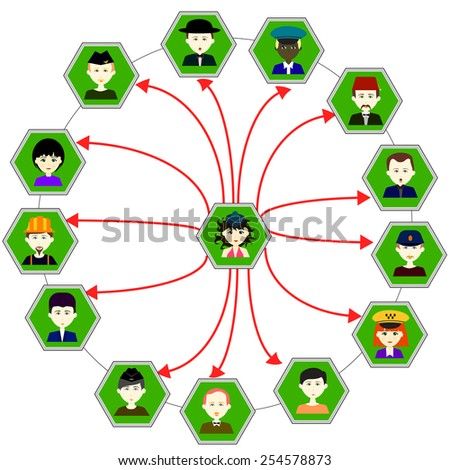 Social interaction. Vector. 3 Vector.  - stock vector