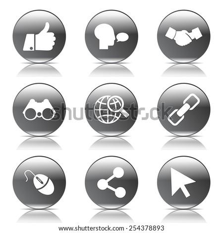 Social Internet Black Vector Button Icon Design Set - stock vector