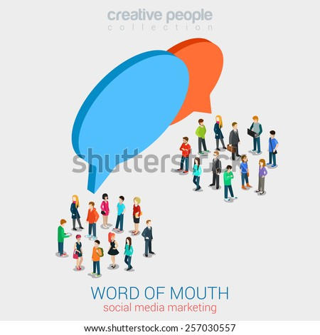 Social marketing word of mouth gossip flat 3d web isometric infographic internet online technology concept vector template. Groups of micro people and chat callout signs. Creative people collection. - stock vector