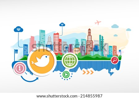 Social media and cityscape background with different icon and elements. - stock vector