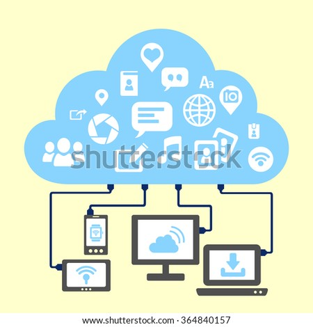 Social media and cloud computing concept - icon connect to cloud - stock vector