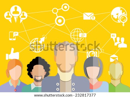 social media and communication concept, yellow background - stock vector