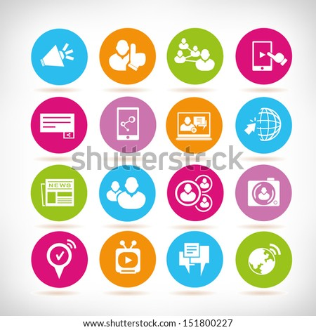 social media and communication, round button set - stock vector