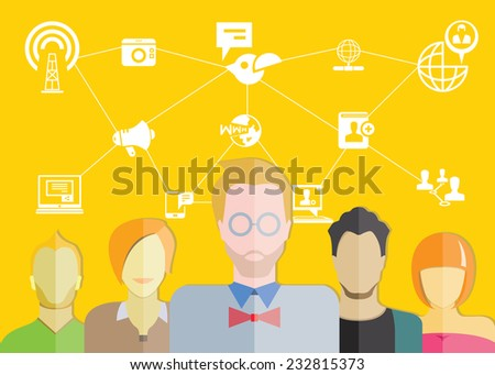 social media and communication, yellow background - stock vector