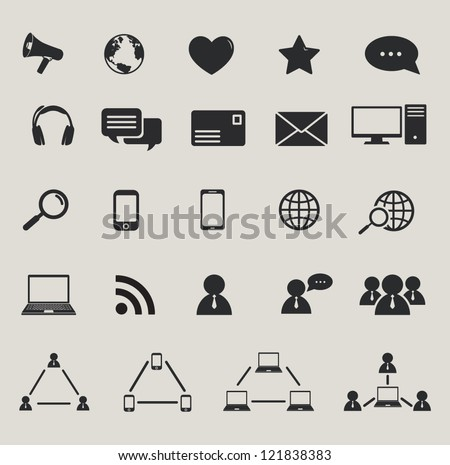 social media and computer communication icons set - stock vector
