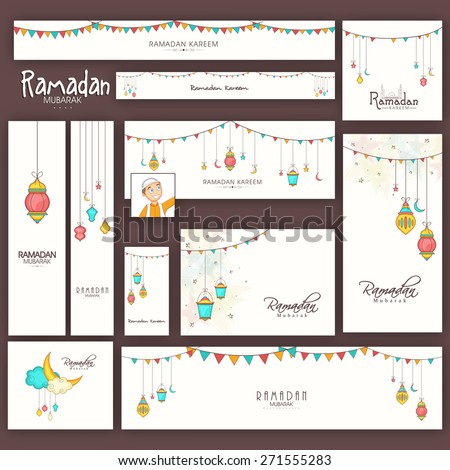 Social media and marketing headers, banners, ads or posts for holy month of muslim community, Ramadan Kareem celebration. - stock vector