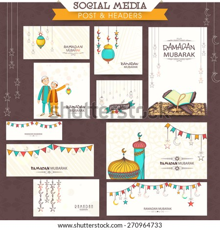 Social media and marketing headers, posts, ads or banners for holy month of muslim community, Ramadan Kareem celebration. - stock vector