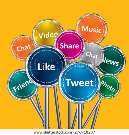 Social media and network concept, group of color signs with social media services - stock vector