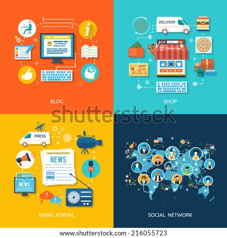 Social media and network connection concept. On line store. Sale, laptop and smart phone with awning. Journalism including news, reporter, camera, accreditation in flat design style - stock vector