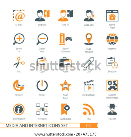 Social Media And Network Icons Set 04 - stock vector
