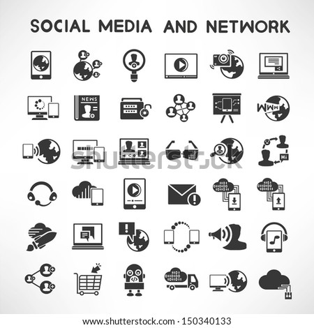 social media and network icons set, vector - stock vector