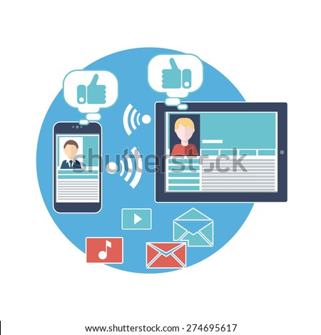 Social media avatar network connection concept in digital device. People in a social network. Concept for social network in flat design. Web page of social media profile - stock vector