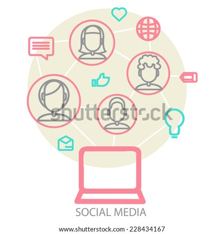Social media background of the icons vector. EPS10 file version. - stock vector