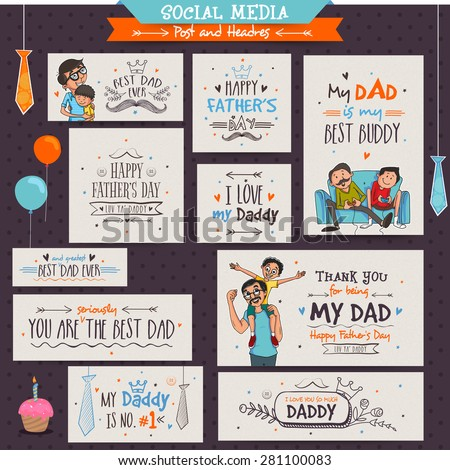 Social Media Banners and Post for the occasions of Happy Father's Day celebrations.  - stock vector