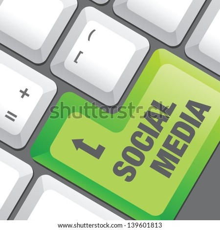 Social media button on a keyboard - stock vector