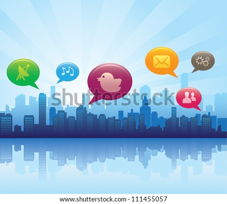 Social media city - stock vector