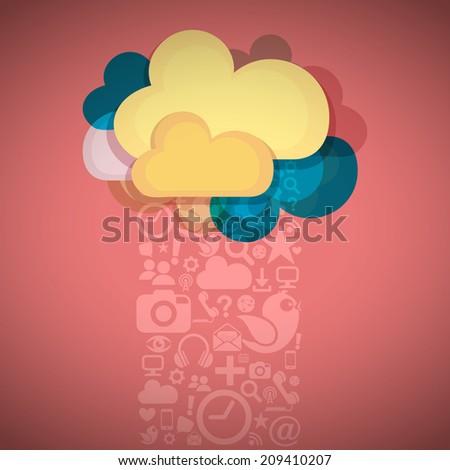 Social Media Cloud Connection - stock vector