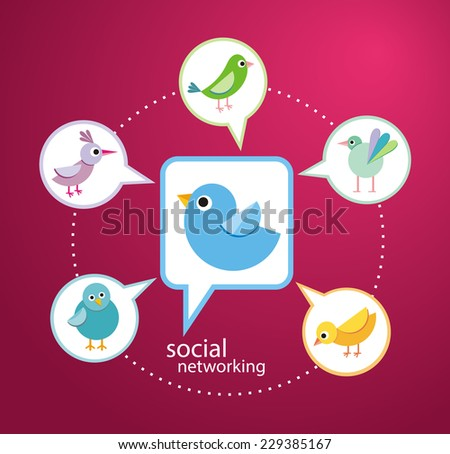 Social media communication network concept. Set of different birds in bubble cartoon design style - stock vector