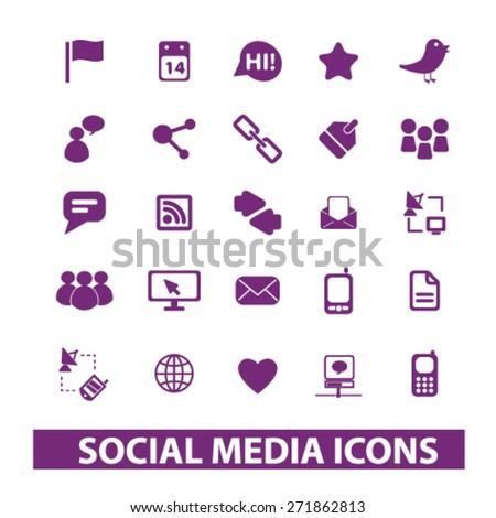 social media, community icons, signs, illustrations set, vector - stock vector