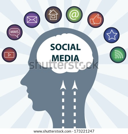 Social media concept illustration with 3d icons and brain illustration - stock vector