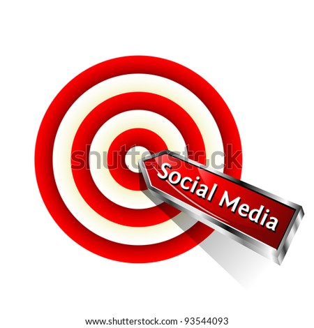 Social Media Concept. Red dart hitting a target. Vector sign. - stock vector