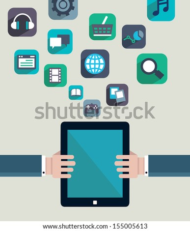 Social media concept. Resources of tablet pc - vector illustration - stock vector