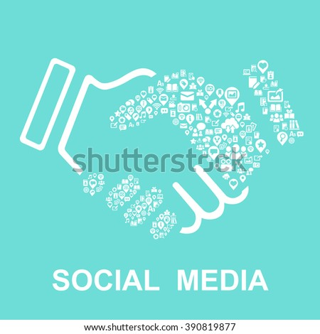 social media concept-social media icon connect together - stock vector
